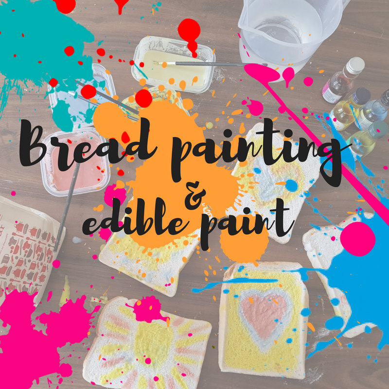 painting with kids using bread and edible paint messy play activity