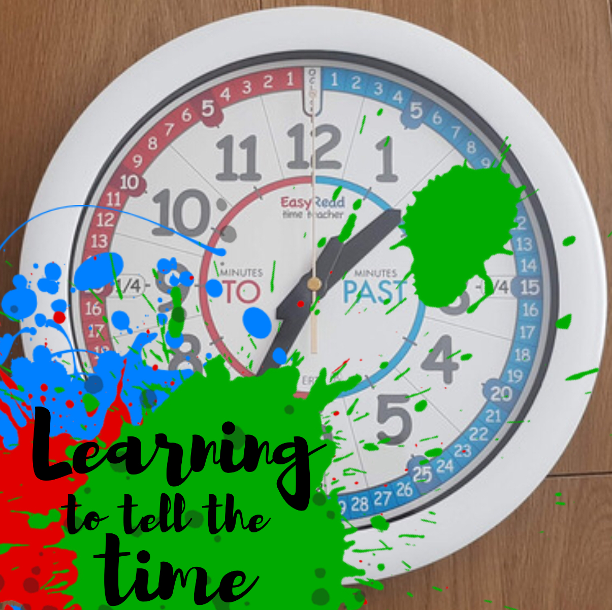 Learning to tell the time easy read time teacher wall clock raw childhood