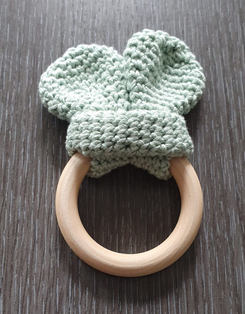 Mum and baby girl must haves raw childhood Crocheted baby teether story of a bean
