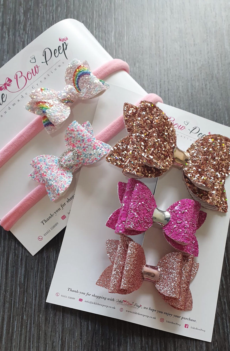 Mum and baby girl must haves raw childhood glitter bow sickle bow peep