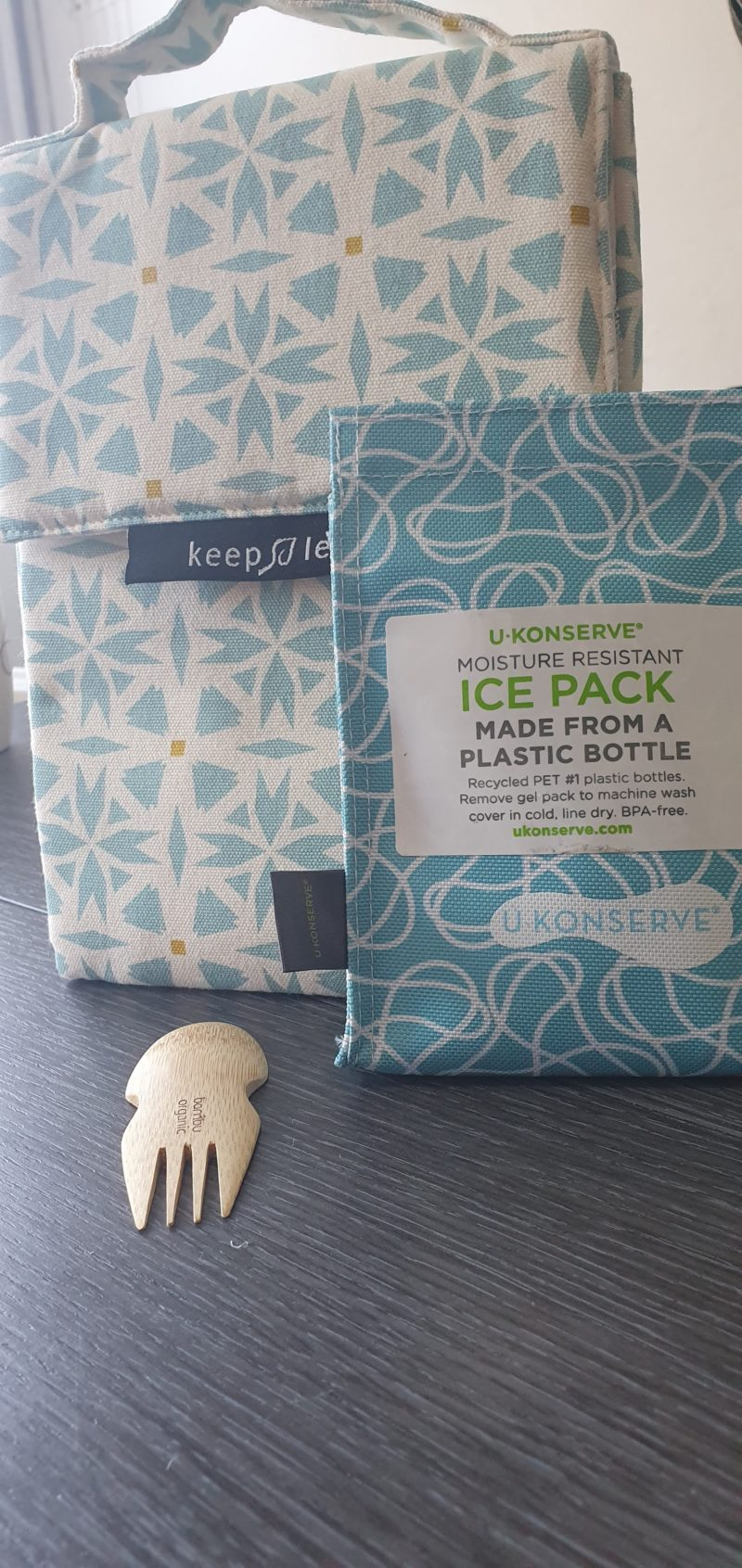 Eco friendly raw childhood Lunch bag, ice pack and bamboo spork Brighton frog