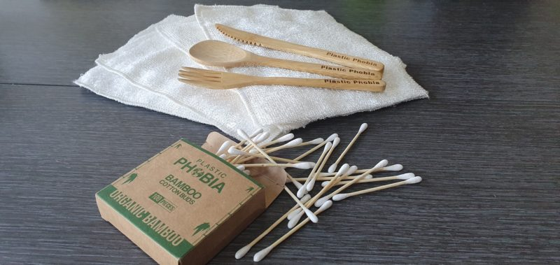 Eco friendly raw childhood Bamboo cutlery, bamboo ear buds, bamboo dish cloths plastic phobia